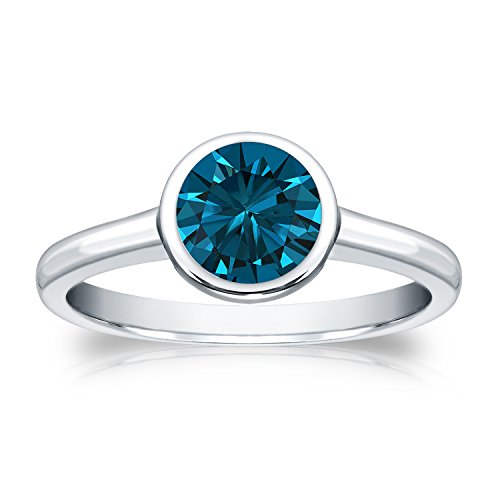 14k Gold Round cut Diamond Bezel Solitaire Ring (1 cttw, Blue Color, I1-I2 Clarity)Size 4-9