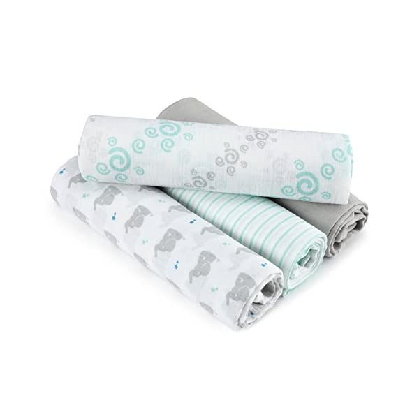aden by aden + anais Swaddle Baby Blanket, 100% Cotton Muslin, 4 Pack, 44 X 44 inch, Baby Star – Elephants