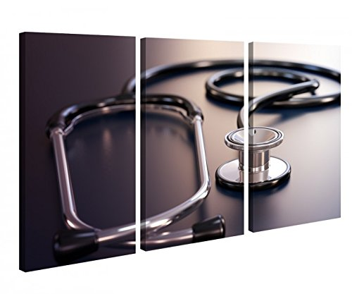 Leinwandbild 3 Tlg Stetoskop Stethoskop Puls Arzt Beruf Medizin Symbol Leinwand Bild Bilder Holz fertig gerahmt 9P1016, 3 tlg BxH 120x80cm (3Stk 40x 80cm)