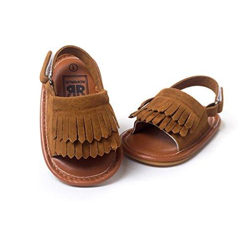 Bebé Prewalker Zapatos Auxma Sandalias de cuero de la princesa Firstwalker de la princesa Soled-Soled de la borla del verano del niño de los bebés Marron oscuro