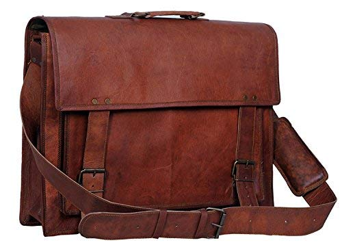 - Komal's Passion Leather 18 Inch Retro Leather Briefcase Laptop Messenger Bag