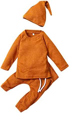 Baby Cotton Linen Pajamas Set, Toddler Boy Girl Autumn Winter Warm Sleepwear t-Shirt Tops Leisure Trousers Sleeping Cap