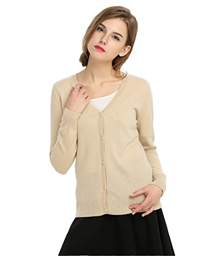 Cashmere Sweater Beige (MIUK 2017 New Womens 100% Cashmere Cardigan Button-down Long Sleeve Knit Sweater Light Beige L)
