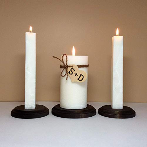 Two Hearts Unity Candle - Personalized Rustic Unity Candle Set and Stand for Wedding Ceremony with Monogram