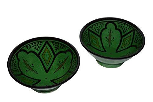 Ceramic Bowls Moroccan Handmade Serving Set of 2 Medium Bowls Exquisite Pieces With Vivid Colors (Handmade Pottery Dinnerware Sets)