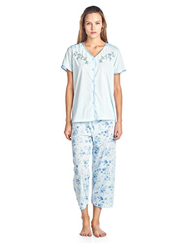 Casual Nights Women's Short Sleeve Floral Satin Lace Capri Pajama Set - Blue - X-Large