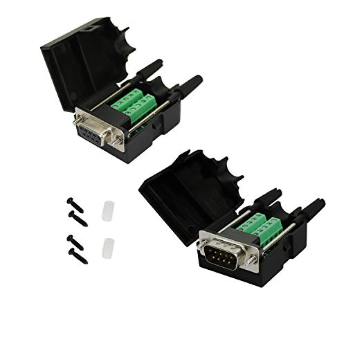 Serial Connector Loopback (TwinkleBay DB9 Connector to Wiring Terminal RS232 Serial Port Breakout Board Solder-Free (Male Adapter with Case x1, Female Adapter with Case x1))