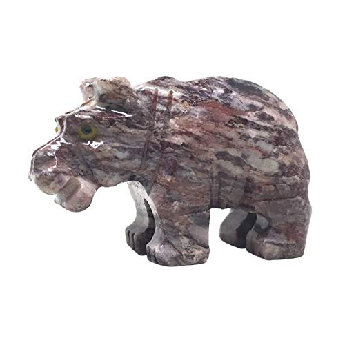 Nelson Creations, LLC Hippo Hippopotamus Natural Soapstone Hand-Carved Animal Charm Totem Stone Carving Figurine, 1.5 Inch
