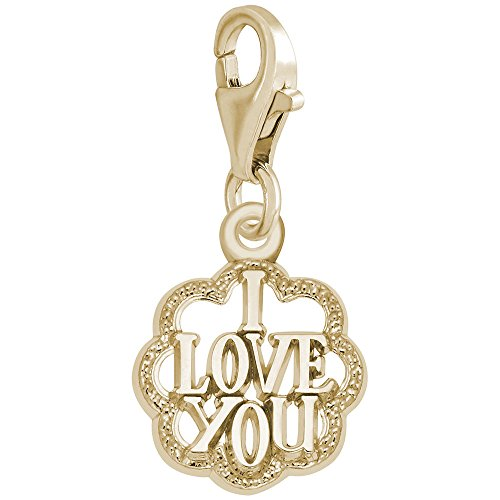 14K Yellow Gold I Love You Charm With Lobster Claw Clasp, Charms for Bracelets and Necklaces by Rembrandt Charms (Image #1)