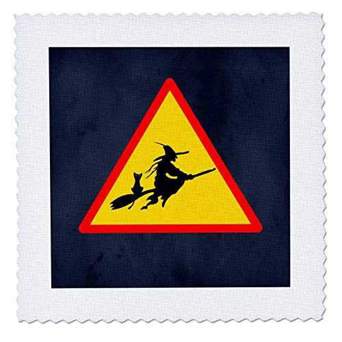3dRose Sandy Mertens Halloween Designs - Witch Crossing with Black Cat and Broom Warning Sign, 3drsmm - 12x12 inch Quilt Square (qs_290246_4) ()