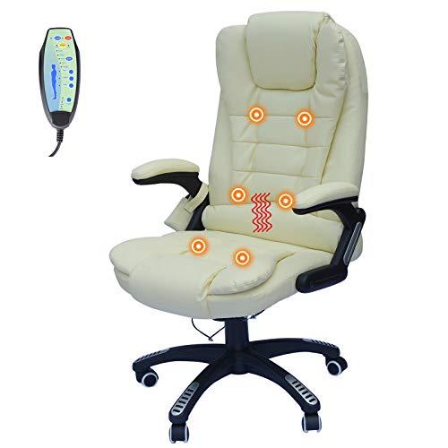 GJH One Executive Massage Office Chair Ergonomic Heated Vibrating Computer Desk (Cream)