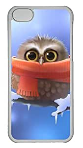 Hard Transparent Plastic Protective Case Shell for iPhone 5C,Cute Case Back Cover for iPhone 5C Printed by Cute Owl with Scarf
