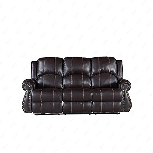 Suncoo 3 Piece Bonded Leather Recliner Sofa Gold Thread