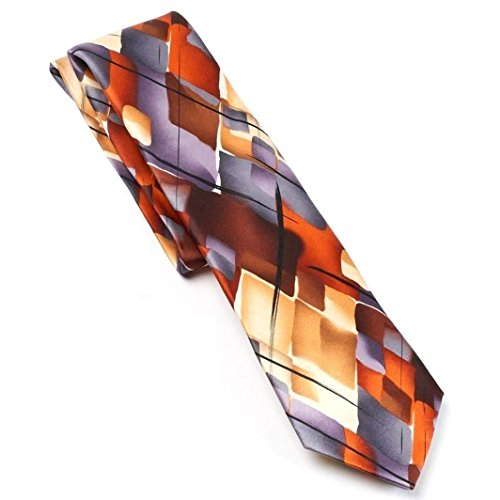signer Pure Silk Tie Abstract Charcoal Brown Gold (Abstract Silk Tie)