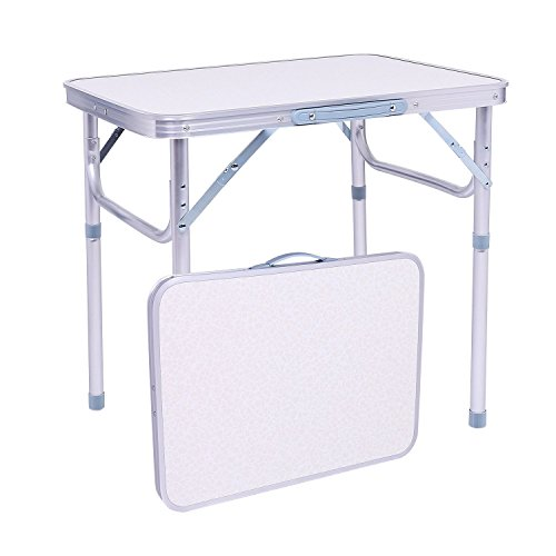 Rapesee Folding Aluminum Table Outdoor Picnic Camping Table 4 Person Portable Adjustable Family Outside Party Dining Desk, 23.74 x 17.80 Inch (60x45x26/56cm)