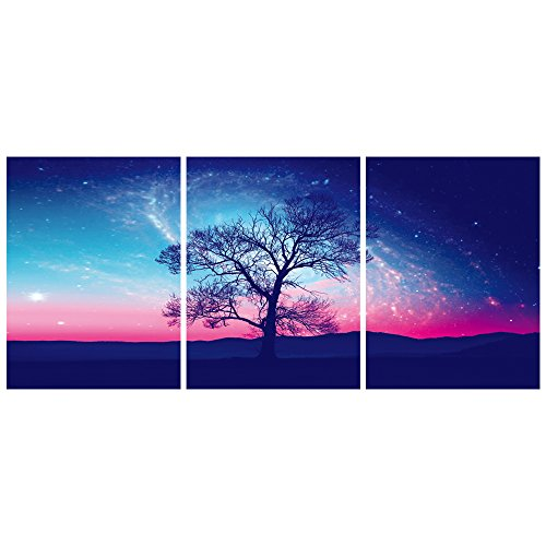 GEVES Galaxy Universe Starry Night Sky Tree Landscape Small Wall Art Canvas Paintings Posters Prints for Living Room Bedroom Home Wall Decor Ready to Hang (Canvas Poster Painting)