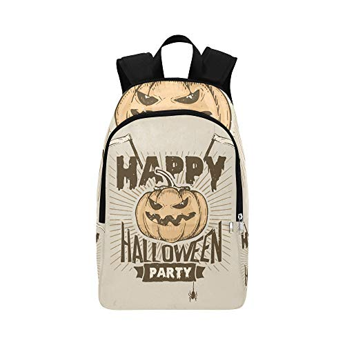 (IIAKXNB Happy Halloween Party Banner Orange Pumpkin Ghosts Casual Daypack Travel Bag College School Backpack for Mens and)