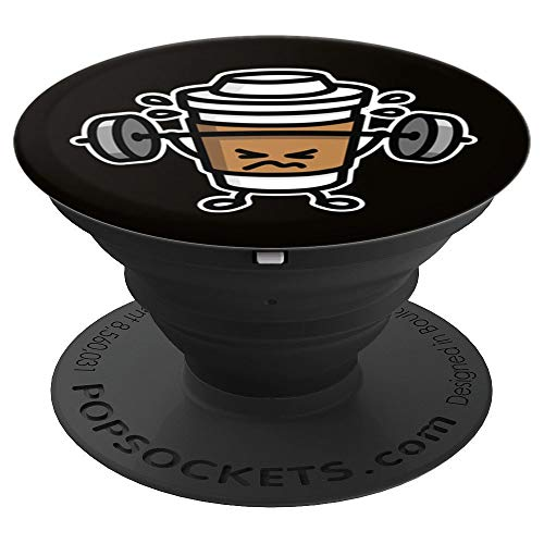 Funny strong coffee lift weights / workout at the gym gift - PopSockets Grip and Stand for Phones and Tablets