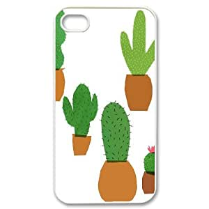 catus plants cute pattern iPhone 4/4s Case White