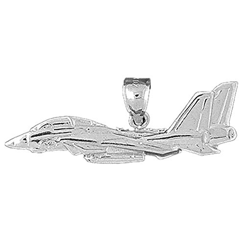 32 mm Sterling Silver 925 Airplane Pendant Jewels Obsession Airplane Pendant