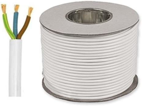 25 metros blanco 2,5 mm 24 Amp 3093Y 3 Core Cable Flexible resistente al calor
