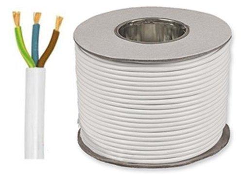 7 metre Cut Length 3 Core Round White Flex Flexible Cable 1 MM