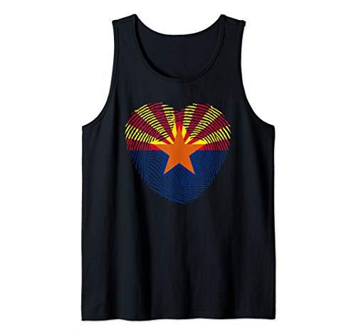 (arizona  flag hearth retro vintage 4 of july man and woman  Tank Top)