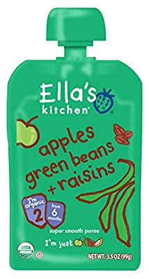 Ella's Kitchen Organic Stage 2, Apples Green Beans + Raisins, 3.5 Ounce (Packaging May Vary)