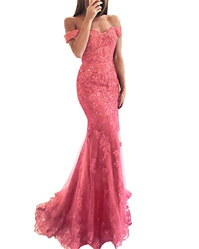 YSMei Lace Mermaid Tulle Prom Dresses Off Shoulder Long Beaded Formal Party Gown Coral 06 (Gown Beaded Short)