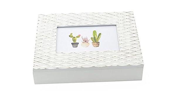 Caja de madera blanca para fotos y porta objetos con porta fotos ...
