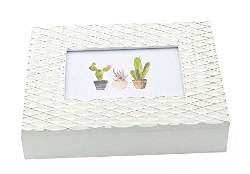 Caja de madera blanca para fotos y porta objetos con porta fotos frontal Shabby Chic: Amazon.es: Hogar