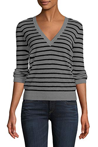 - Viottis Women's Ribbed Striped Slim Fit V-Neck Pullover Knit Sweater Gray L