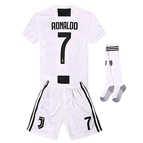 super popular b77b2 2118c Newkidsjs Juventus #7 Ronaldo Kids and Youth Soccer Jersey & Shorts & Socks  2018-2019 Home White/Black 11-12Years/Size 26