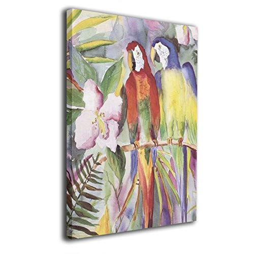 Terry Madden Art - Terry Madden Parrots On A Branch Oil Paintings On Canvas Wall Frameless Painting Ready to Hang Bedroom Painting Home Decoration Painting Canvas Prints for Home Decorations 16''x20''