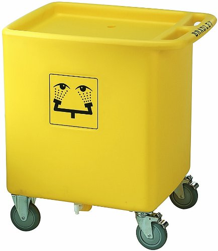 Bradley S19-399 Polyethylene 56 Gallon On-Site Safety Waste Cart, For Portable Gravity-Fed Eyewash, 29-3/4'' Length x 22-1/8'' Width x 33'' Height, Yellow