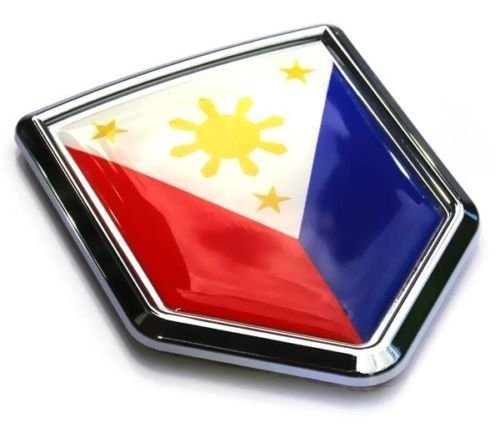 - Philippine Flag Philippines Car Auto Chrome Emblem 3D Decal Bumper Sticker