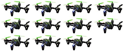 11 x Quantity of Hubsan X4 H107C Quadcopter with Camera Recorder BNF ONLY (Black with Green Stripes) by HobbyFlip