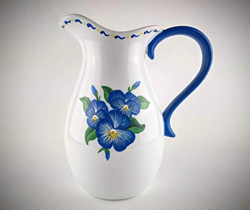 Hand Painted Pitcher Blue Flowers Ceramic Porcelain Water Jug