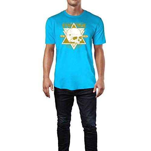SINUS ART ® Totenschädel Local Hoolygans - Stay True 1986 Herren T-Shirts in Karibik blau Cooles Fun Shirt mit tollen Aufdruck