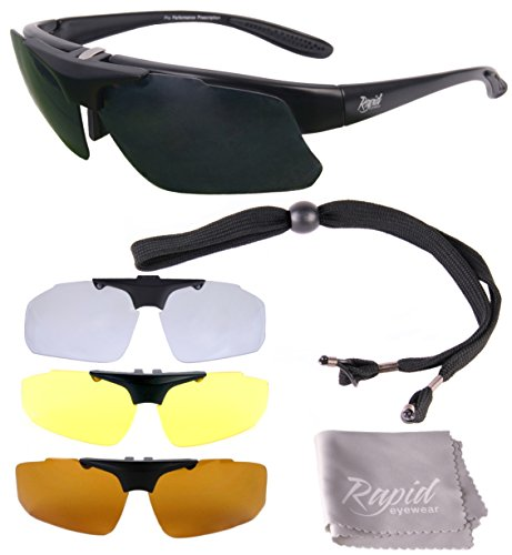 Rapid Eyewear Pro Performance Plus RX SPORTS SUNGLASSES FRAME with Interchangeable UV Polarized Lenses. For Men and Women. For Cycling, Driving, Running, Shooting, Sailing etc. UV400 - Sunglass Prescription Inserts