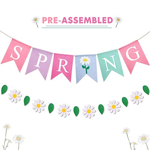 Spring Burlap Banner Colorful Spring Rustic Bunting Daisy Flower Leaves Garland for Spring Easter Theme Party Supplies Spring Break Celebration -