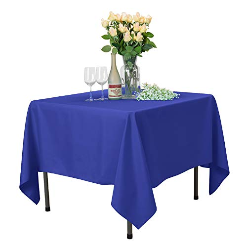 - VEEYOO Square Tablecloth 100% Polyester Table Cloth for Indoor and Outdoor Table - Solid Dinner Tablecloth for Wedding Party Restaurant Coffee Shop (Royal Blue, 70x70 inch)