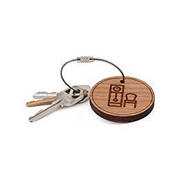 Grandfather Clock Keychain, Wood Twist Cable Keychain - Large
