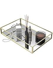 Cq acrylic Gold Decorative Tray Mirror Tray for Jewelry