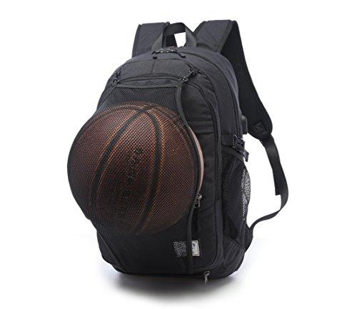 gohigh Business resistente al agua mochila para portátil con USB puerto de carga para para debajo de 17pulgadas de Notebook y Tablet, multifuncional bolsa de viaje con red de baloncesto mochila para  negro