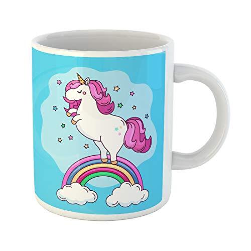 Semtomn Funny Coffee Mug Pony a Funny Unicorn Character on the Rainbow Flat Vector 11 Oz Ceramic Coffee Mugs Tea Cup Best Gift Or Souvenir ()