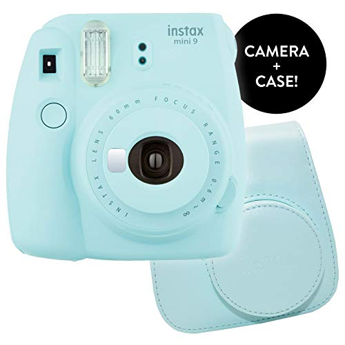 Fujifilm Instax Mini 9 Instant Print Camera – Certified Refurbished Bundle Instax Mini 9 Groovy Camera Case | Matching Colors for Case and Instax Mini 9 Camera (Ice Blue)
