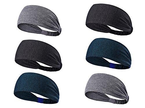 Tensky Outdoor 6Pack Workout Headbands for Women Mens Lightweight Sweatband Wide Hairband for Running Biking Fitness,Quick Dry (grey, dark grey, navey melange)