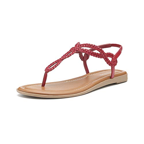 Women's Braided T-Strap Sandals Slingback Flats Roman Gladiator Thongs (12, Red)