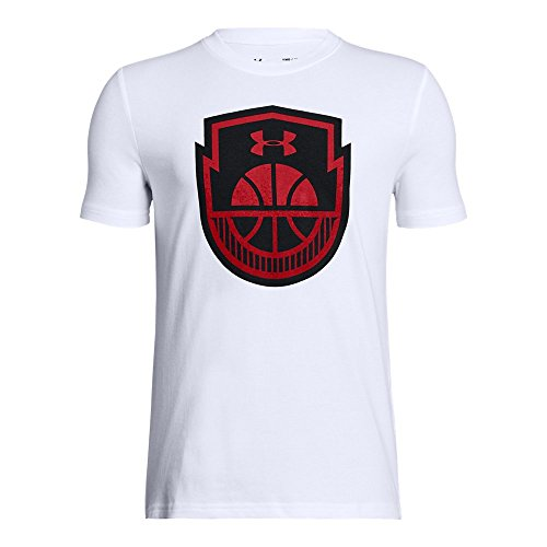 Under Armour Boys' Basketball Icon T-Shirt, White (100)/Red, Youth X-Large